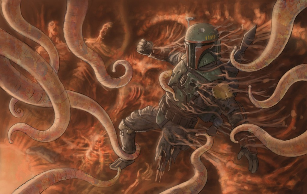 Boba Fett escapes his encounter with the Sarlacc Pit in ROTJ via Wookieepedia