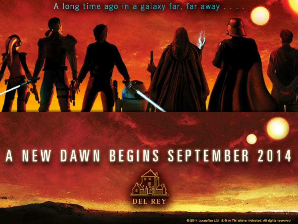 Promotional image from Del Rey books for the new line of Star Wars adult fiction.