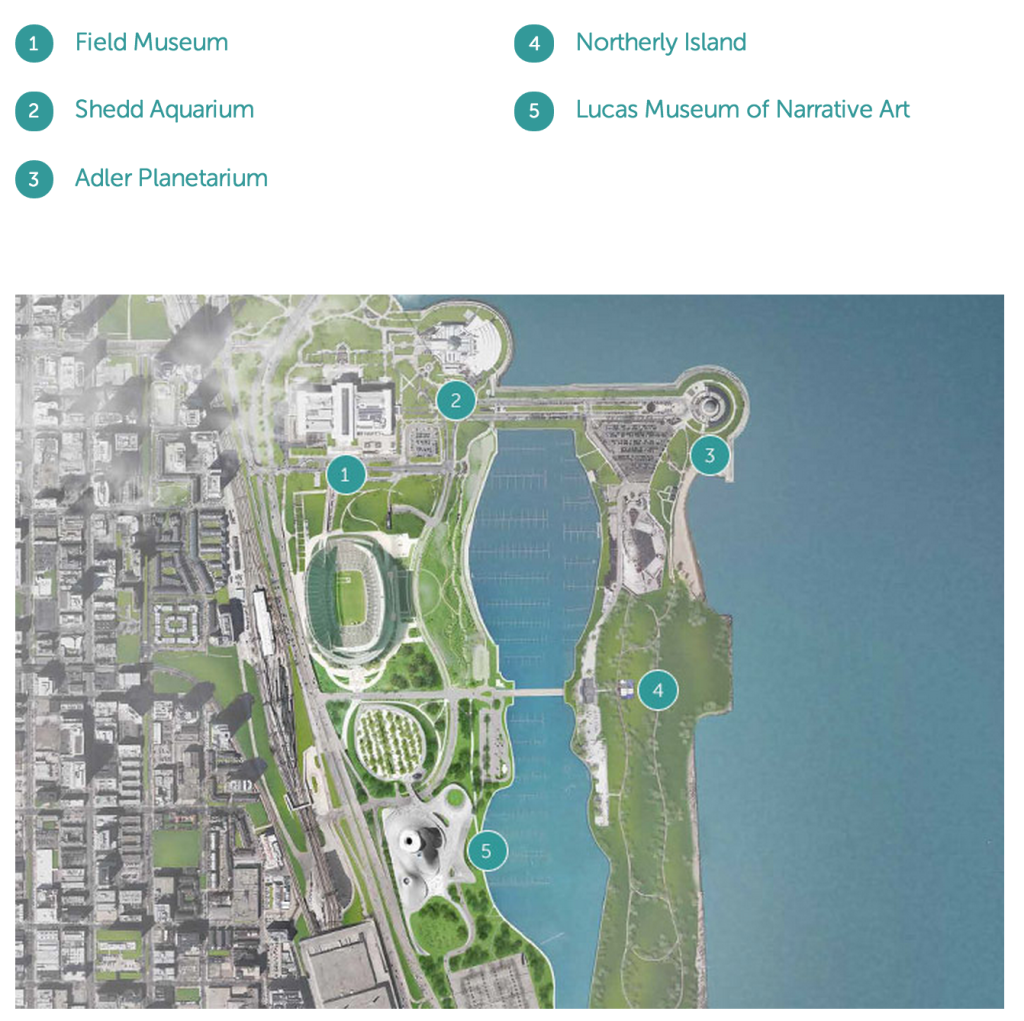 Map of planned Lucas Museum in Chicago, IL, via www.LucasMuseum.org