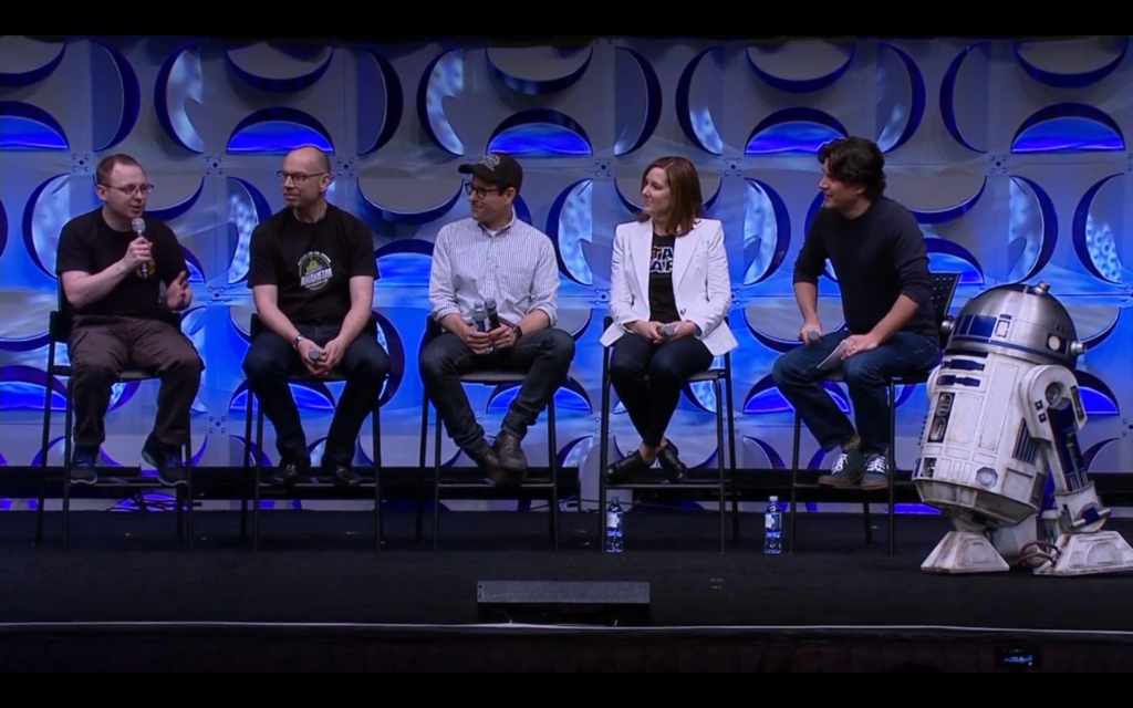 Droid builders arrive on stage alongside J.J. Abrams and Kathleen Kennedy.