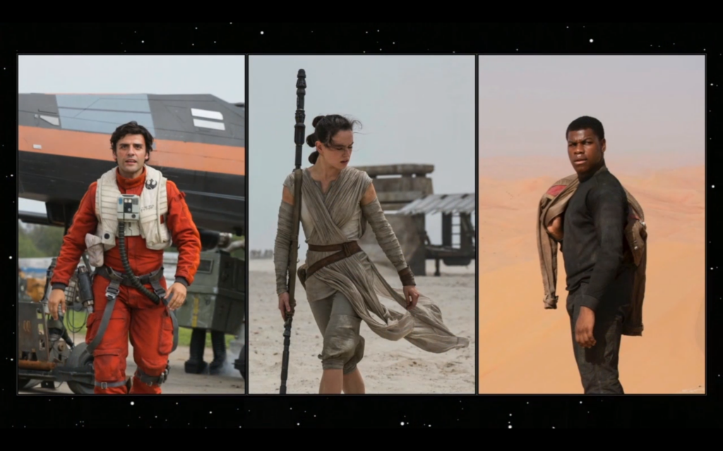 The new three leads of the Sequel Trilogy (Oscar Isaac, Daisy Ridley, and John Boyega).