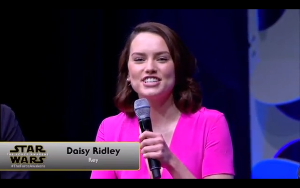 "Daisy Ridley will be playing ""Rey."""