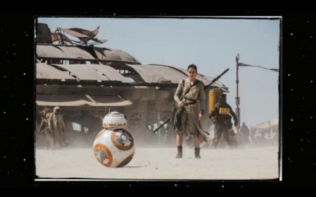 Ridley posing with BB-8.