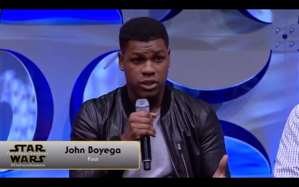 "John Boyega is playing ""Finn."""