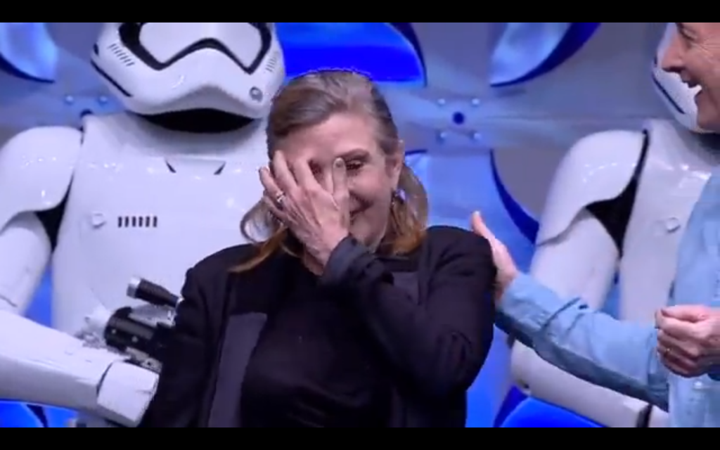 Carrie Fischer (Princess Leia) tears up with joy.